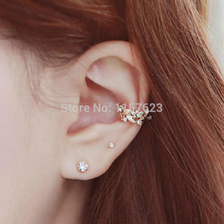 Korean jewelry flower leaf wheat ear earrings non pierced ear bone ear clip buckle two sets(China (Mainland))