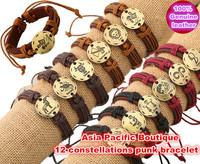 Wholesale, (12pcs/lot),Fashion 12 Constellations charms Silver & Bronze Alloy Genuine Leather Bracelets Men & Women Bracelet