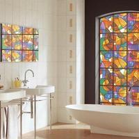 Beautiful Stained Glass Window Film, UV Block Vinyl film , Privacy Decorative Glass Sticker 45*100cm
