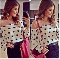 2014 summer new Lace Gauze Blusas femininas blusa  camisa  mulheres long sleeve fashion Patchwork Heart Print T shirt Blouse