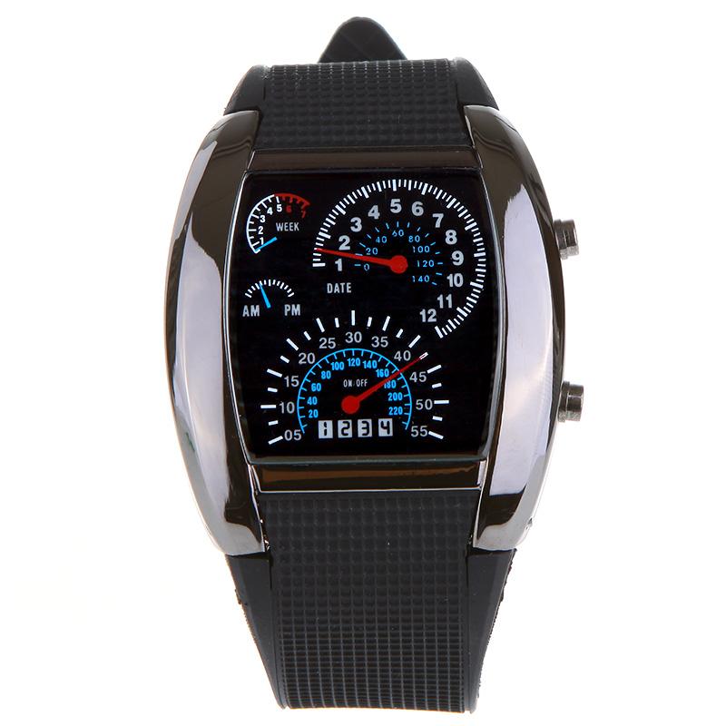 NEWSKY Car Meter Dial Blue Flash Dot Matrix LED Racing Quartz Wrist Watch Black US(China (Mainland))