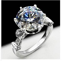2014 New Exaggerated Big NSCD Simulated Diamond Wedding engagement Ring Wholesale 18K Platinum Plated Jewelry For Women Gift