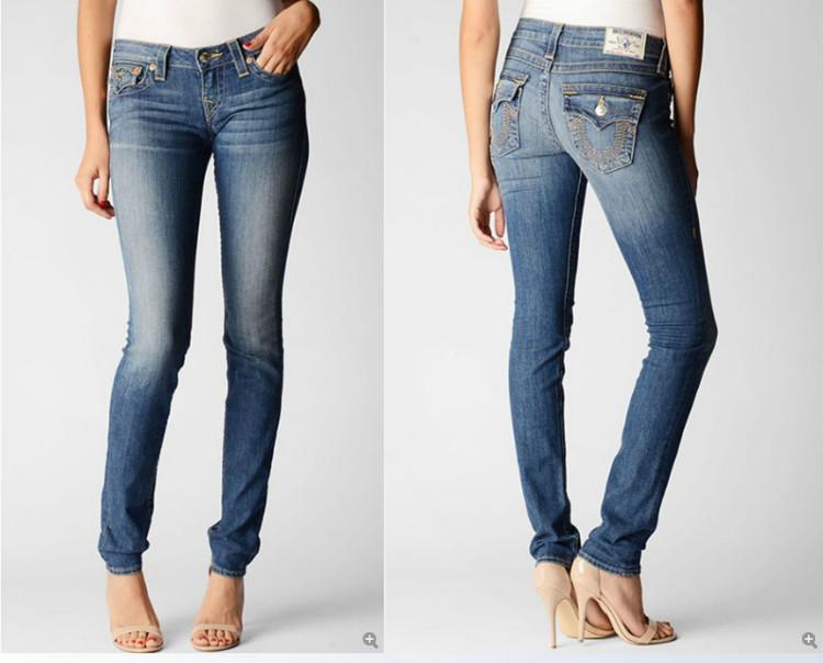 Free Shipping! Wholesale Brand Name Skinny Denim Jeans Women Classic Designer Big U Logo Women's Jeans 189-1610(China (Mainland))
