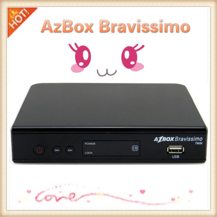 HOT! Azbox Bravissimo HDTV 1080p Dual Tuner Digital Satellite Receiver w/ USB / HDMI / RS-232 - Black Free shipping(China (Mainland))