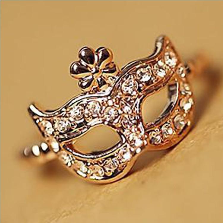 2015 New !!! Hot Fashion Fine Jewelry Wholesale 18 K Gold-plated Full Rhinestone Bohemian Style Mask Wedding Ring For Women R-80(China (Mainland))