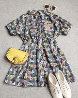 Denim 2014 New Women Summer Dress Print Lovely Mickey Loose Casual Fashion Slim Minnie Dress