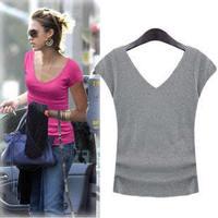 2014 new female models of high-quality short-sleeved V-neck T-shirt Slim thin cotton halter women bottoming shirt multicolor