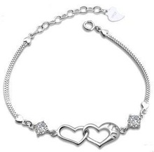 Free shipping 2014 new arrival hot sell double love heart 925 pure silver fashion ladies bracelets birthday gift