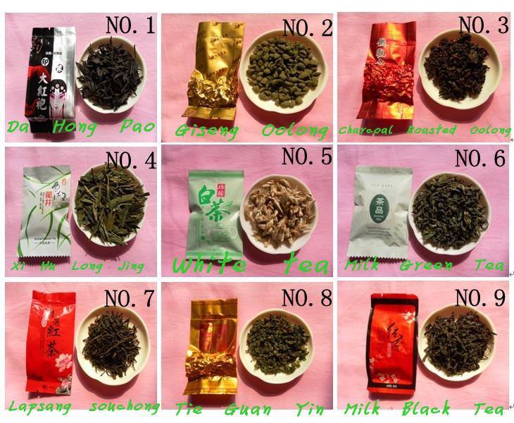 9 flavors oolong tea and black tea,dahongpao tie guan yin,milk tea 2013 year health care the gift weight loss slimming products(China (Mainland))
