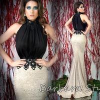 Real Sample NEW FASHION 2014 Luxury Mermaid High Neck Appliques Beaded Lace Chiffon Splice Sleeveless Designer Evening Dress