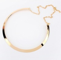 Fashion Making simple shape metal texture collar choker necklace (narrow version of gold) 2014 New necklace Jewelry JN_N_0017