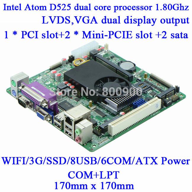 IPC Atom D525 6COM POS motherboard M58_A56 Queue mini itx motherboard DDR3 18bit single channel LVDS 6 RS232 ATX PCI 2*Mini-PCIE(China (Mainland))