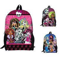 2014 New Fashion Monster High School Bag,Kids Cartoon Backpack,Cartoon Printing Backpack,Children's Shoulder Bag.