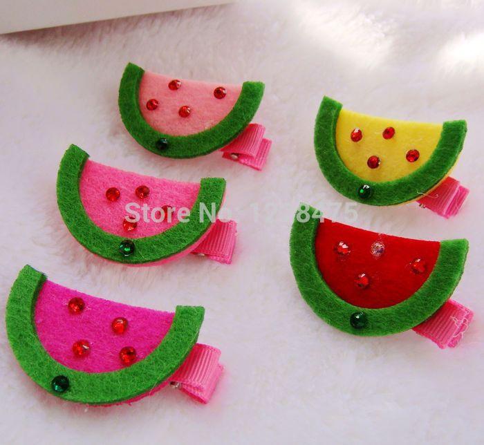New rhinestone on watermelon design baby Girls/Princess Hair Clips/Hairpins/Hair Accessories/(China (Mainland))