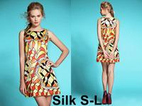 2014 NEWEST Women High Grade Silk Printing Fashion O-Neck Dress Wholesale Price Nice Color OL Slim Dress Freeshipping