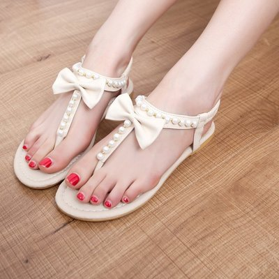 HOT 2014 Summer Women sandals pearl flip-flop flat heel beaded fashion gladiator sandals flat women's shoes(China (Mainland))