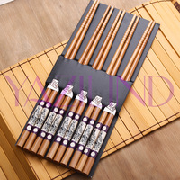 Qiyun Exquisite Pack Of 5 Pairs Dragon Totem Painting Cutlery Bamboo Chopsticks Pauzinhos Essstabchen Baguettes Palillos