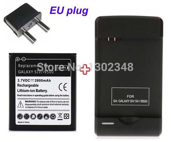 High Capacity Replacement Li-ion Battery 2800mAh Rechargable Bateria Batterij + USB Wall Charger for Samsung Galaxy S4 SIV i9500(China (Mainland))