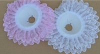 5pcs 10in Lace Edge Wedding Floral Flower Bouquet Collar Holder Decoration White/Pink