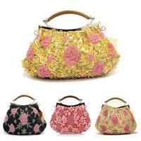 2014 New Bag Women Clotch Fashion Summer Party Women Messenger Bags Vintagr Flowers Handbags Free Shipping