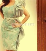 2014 Vestidos Scoop Beading Ruffled Knee Length Short Prom Dresses