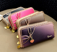 2014 New brand women wallets long wallets pu leather card holder coin phone bag zipper korean style fashion purse 4 color