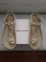 2014 Brand New Isabel Marant Breaded Sandals Brook SD0036-14E003S Chalk Hot Sale Isabel Marant Sandal