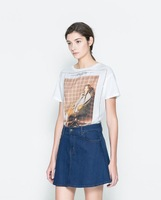 Free shipping  fashion design Euro American large size women tee short sleeve T-shirtDH12