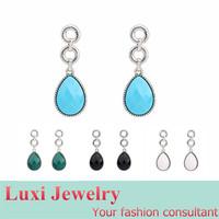 Water Drop Simple  Drop Earrings for Women 2014 European Fashion Statement Jewelry Alloy Resin 4 Colors