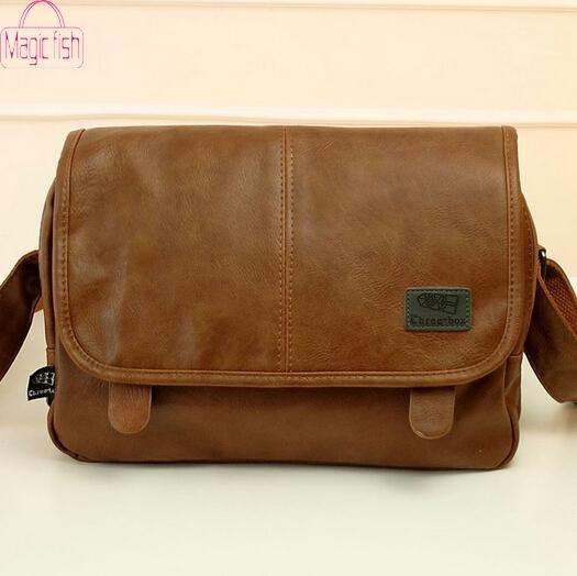 Magic Fish! 2014 new arrive men messenger bags pu leather shoulder bag men's travel bags high quality LM0011(China (Mainland))