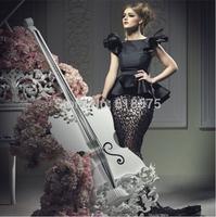Vestidos Bateau Neckline Peplum Short Sleeve Beading Black Prom Dresses 2014