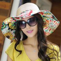 free shipping female caps cotton haps Hat women's folding summer strawhat anti-uv sunbonnet sun hat beach cap sun hat