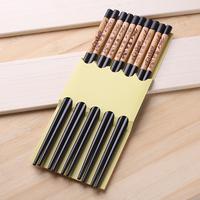 Qiyun Carved Leaf Panda 5 Pairs Black New Bamboo Wood Chopsticks Women'S Hairsticks Pauzinhos Essstabchen Baguettes Palillos