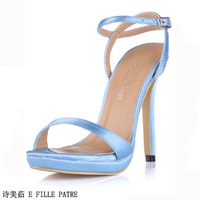 Ladies Luxury Sexy High Heels Sandals Summer Shoes Women Pumps With Ankle Strap Mesh Upper Size 35-43 Free Shipping SMR61FS