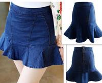New Fashion 201406Summer High Waist Mermaid Jeans Short Skirt Blue Women's/Girl Sexy Denim Mini Skirts Plus SizeXL Free Shipping