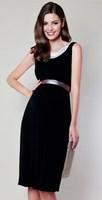 Sleeveless Sequined Round Neck Maternity Dress Belted Maternity Evening Dress M-0546