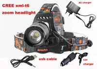Boruit CREE XM-L T6 1800 Lumens LED 5 Modes Headlamp Headlight can Charging for Cellphone with DC / USB Interface+charger