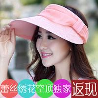 free shipping women caps Hat women's summer sunscreen sun-shading hat visor embroidered lace large brim anti-uv hat