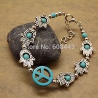 BR261 Tibetan Silver TURQUOISE Stone Gypsy Beads Peace hand Evil Eye vintage Charm Bracelet Bangle Wholesale Jewelry Jewellery