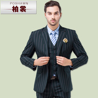 men suit set jacket pant vest Male formal dress set fashion vintage stripe suit men's clothing