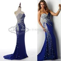 Abendkleid 2015 New Fashion Real Sample Sweetheart Mermaid Royal Blue Satin Long Evening Dress Rhinestone Prom Dresses 2014