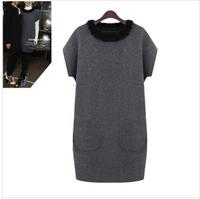 Free Shipping! 2014 Fall Fashion European  big Size ladies round neck sweater, long loose Rabbit fur collar pullover XL-5XL