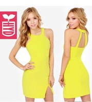 Export brand 2014 hang a neck yellow slim fit BODYCON Womens elegant sexy vest racerback dress,Side Slit Open