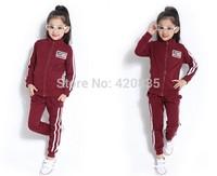 2014 unisex children new brand casual spring&autumn sports suits USA flag+82 letter striped 100%cotton sports traksuits set