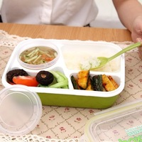 BF015 High-grade PP lunch box with spoon 3 in1 microwave food container 23*15*7cm  free shipping