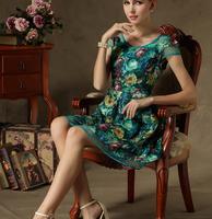 High Quality Western Style Short Sleeve Flower Printed Plus Size Woman Chiffon Dress Free Shipping