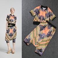 2014 Europe Summer Fashion Women's Short Sleeve Printed Blouse+Harem Shorts Cool Personality Twinset