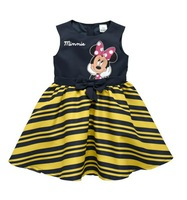 2014 new children girls summer dresses with minnie mouse striped navy and yellow sleeveless baby kids girl clothing sets