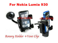 360 Degree Rotating Car Holder Mobile Phone Holder Window Sunction Holder  +Vent Clip For Nokia Lumia 930