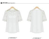 Hot Sell Free Shipping New Large Size Hollow Lace Chiffon Shirt  Short-sleeved Female Shirt